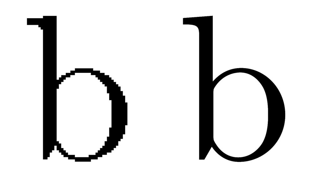 Police bitmap (à gauche) et police vectorielle (à droite)