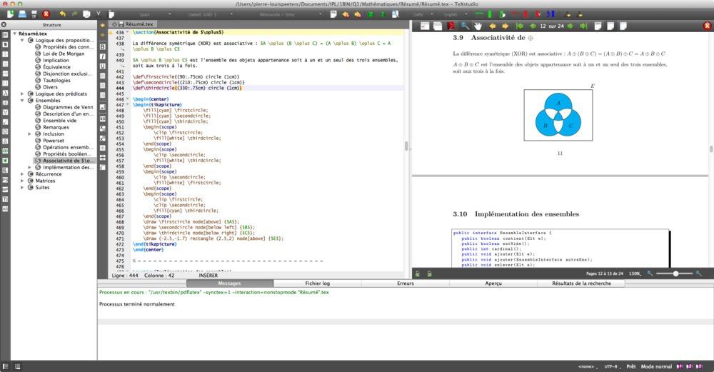 Capture d'écran de TeXStudio sur Mac