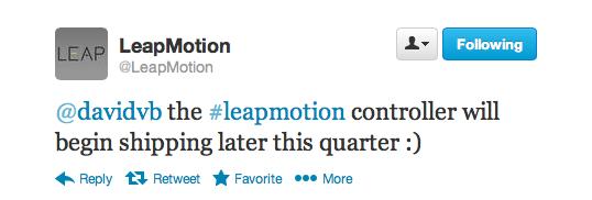 Leap Motion Tweet