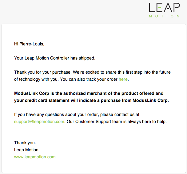 Leap Motion Confirmation