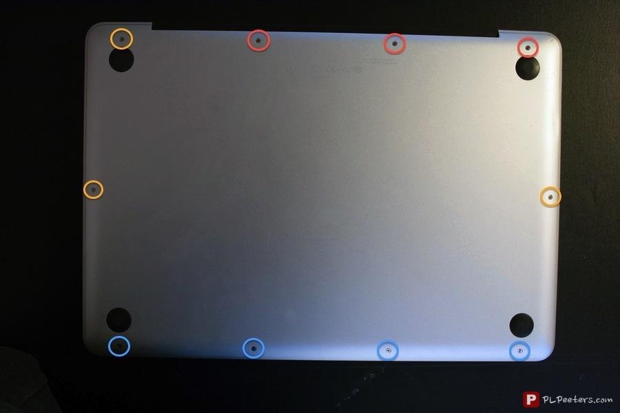 Red: long screws, orange: 'normal' screws, blue: shoulder screws