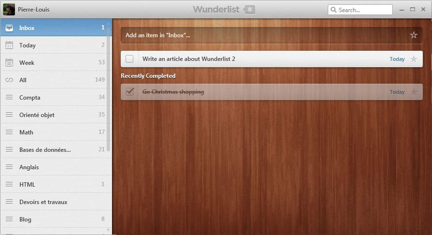 Screenshot of Wunderlist 2